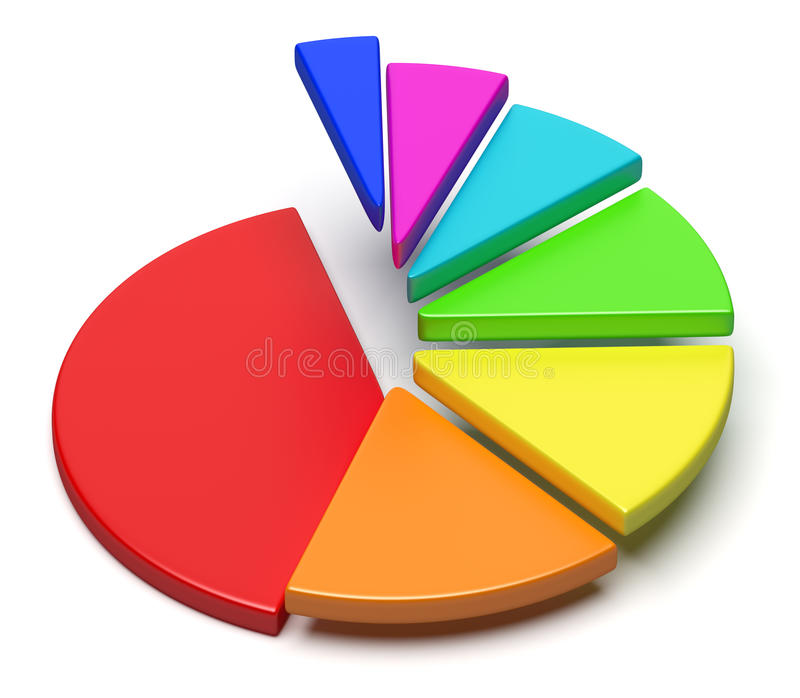 Colorful pie chart in shape of ascending stairs. Creative abstract business statistics, financial analysis, success, growth and development concept: colorful 3D vector illustration