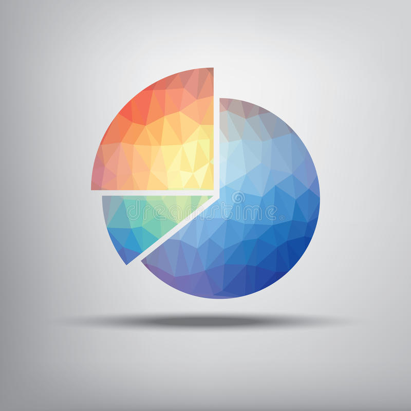 Colorful pie chart symbol in modern low polygonal. Shape suitable for infographics, business presentations, analysis reports. Eps10 vector illustration stock illustration