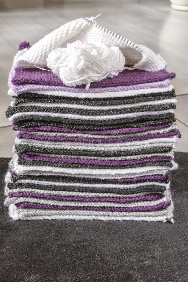 Pieces for knit blanket royalty free stock photo
