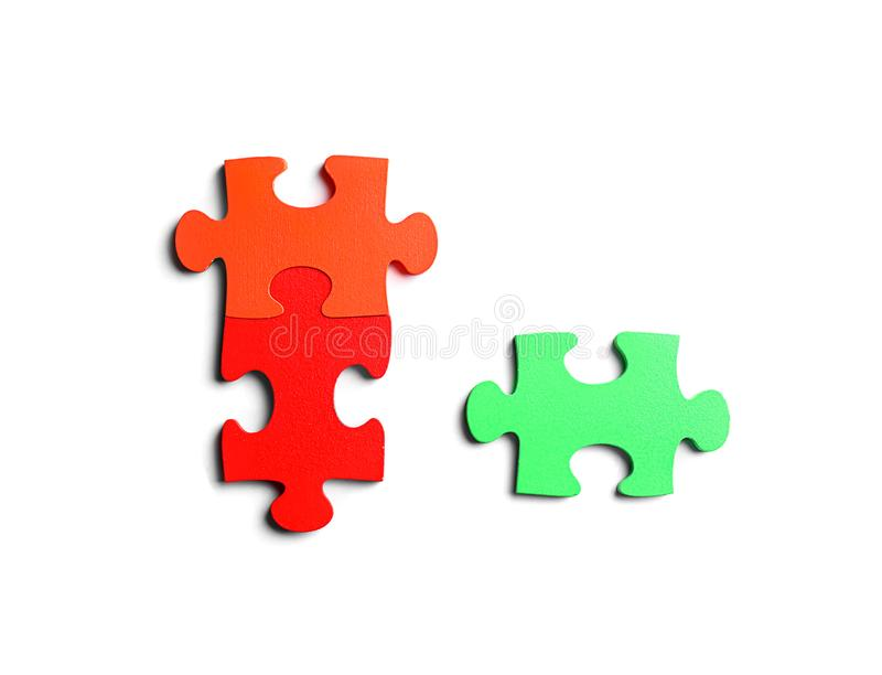 Colorful pieces of puzzle on white background royalty free stock photo