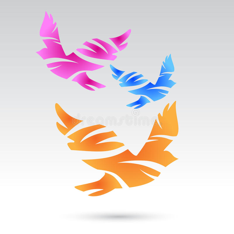 Free Colorful Pigeons. Abstract Birds. Stock Photography - 68129872