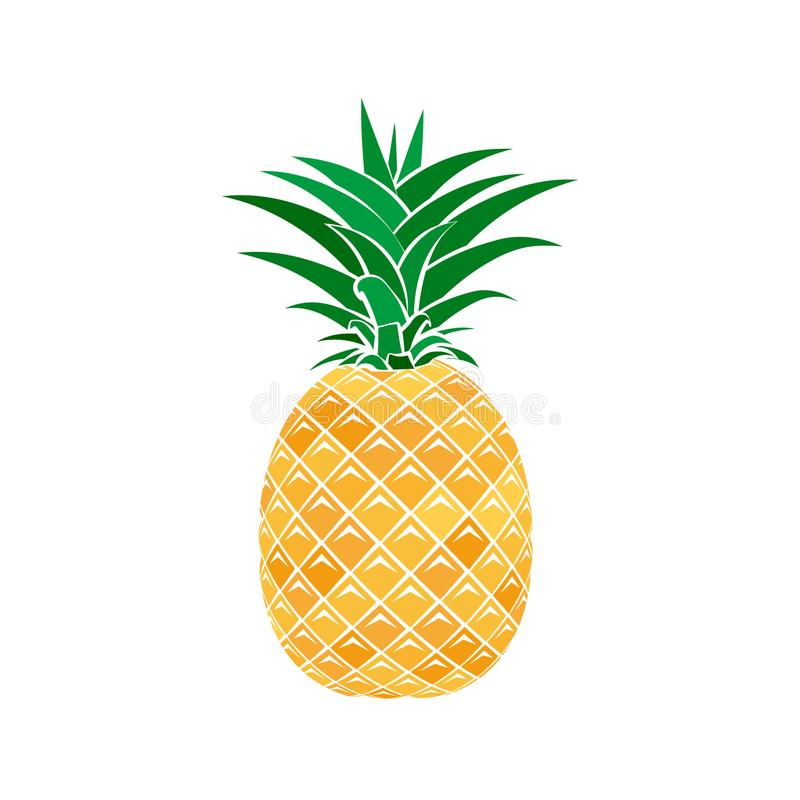 Colorful pineapple icon in a flat style on a white background. Vector illustration. Design for web banner, label, card, poster stock illustration