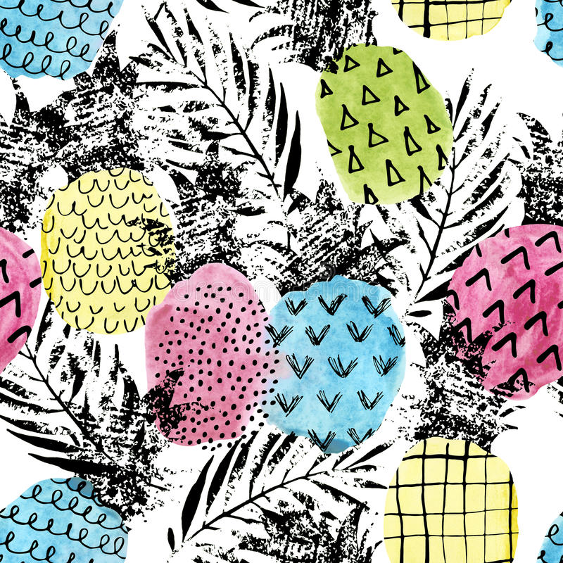 Colorful pineapple with watercolor and grunge textures seamless pattern stock illustration