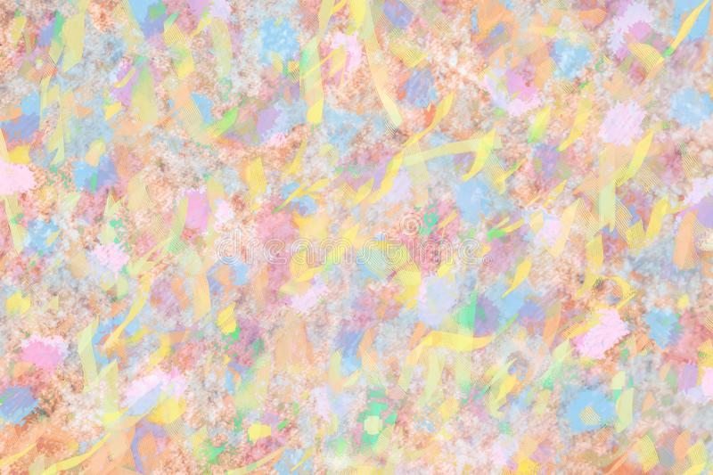 Colorful pink ,blue and brown watercolor paint wallpaper stock illustration