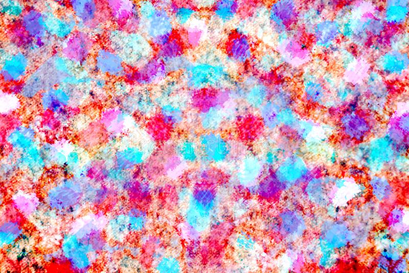 Colorful pink ,blue red and brown watercolor paint digital art stock illustration