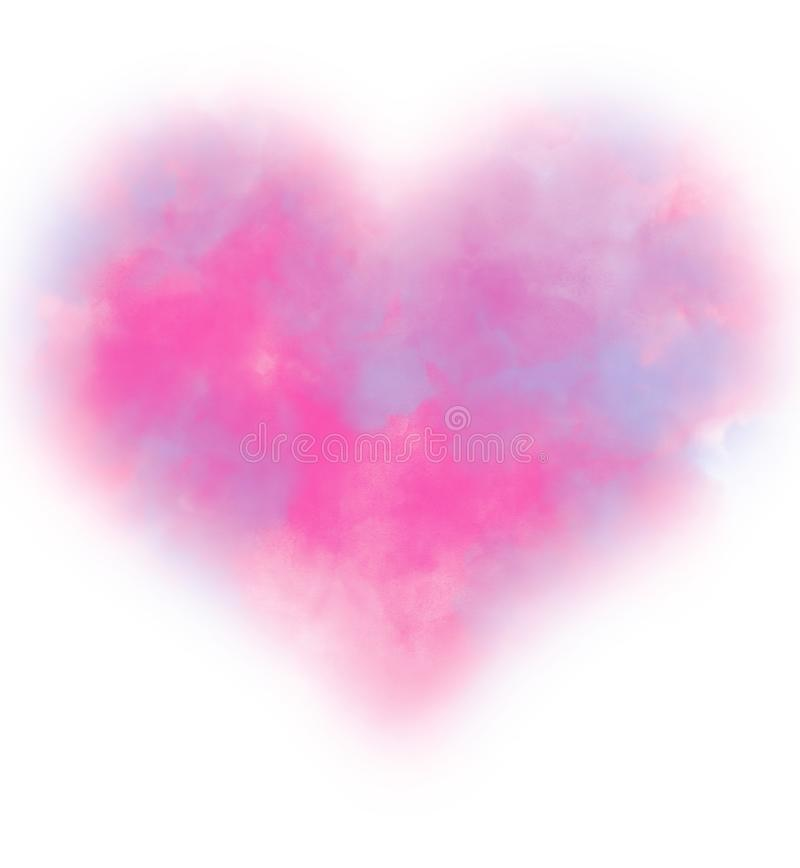 Colorful pink and blue smoke watercolor in heart shape. vector illustration