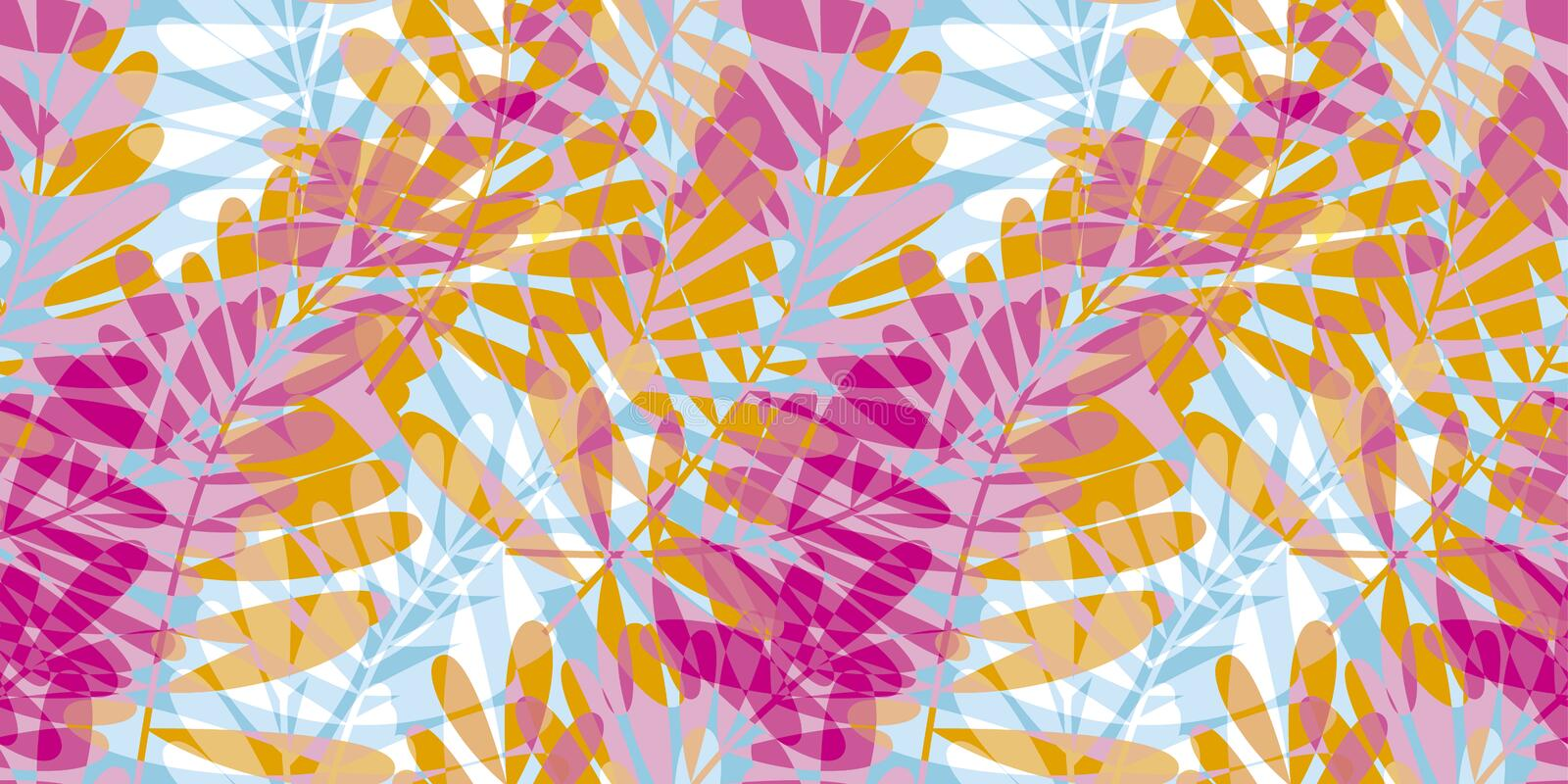 Colorful pink and blue tropical seamless pattern stock illustration