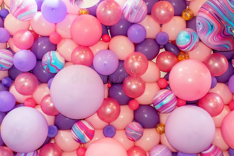 Colorful pink and purple balloons 1 stock image