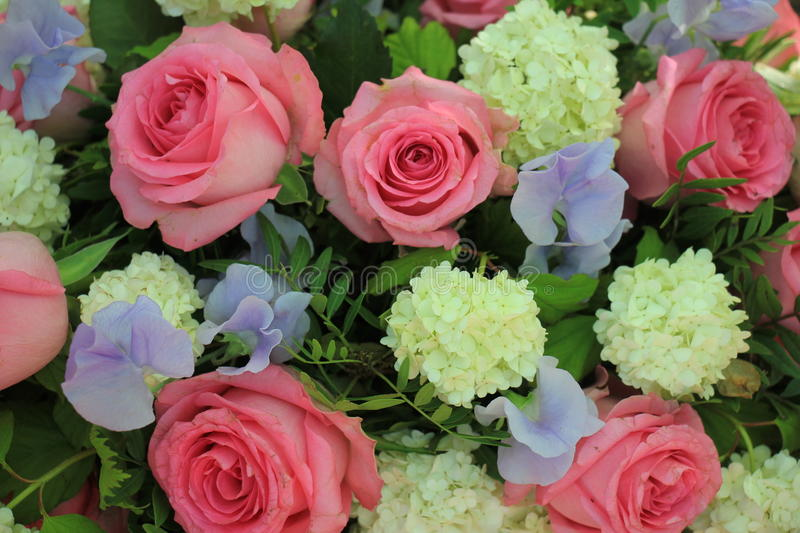 Colorful pink and purple wedding flowers royalty free stock photo
