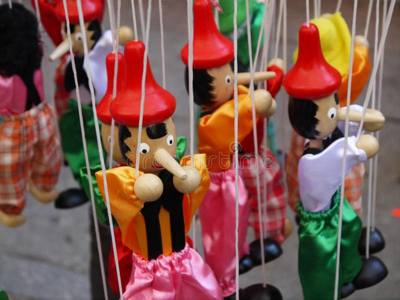 Colorful Pinocchio puppets royalty free stock image