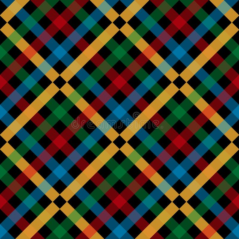 Colorful plaid tartan on black background. vector illustration. royalty free illustration
