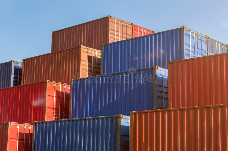 Colorful plain shipping containers. Some colorful plain shipping containers stock images