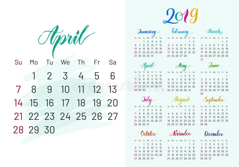 Colorful planner, 2019, April separately stock illustration
