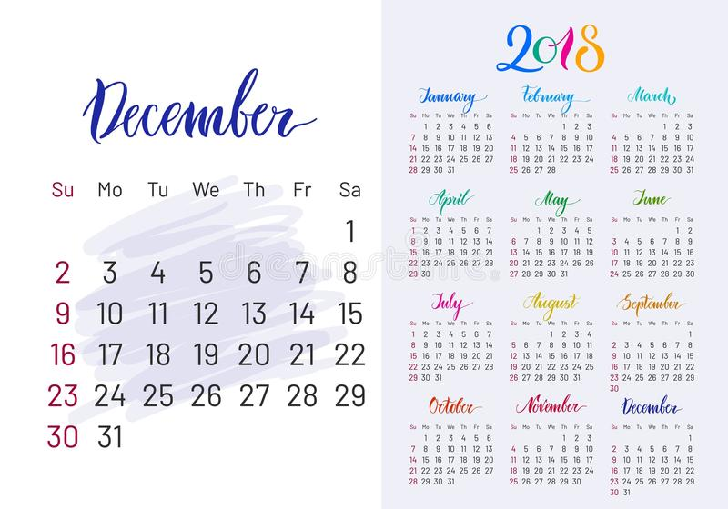 Colorful planner, 2018, December separately vector illustration