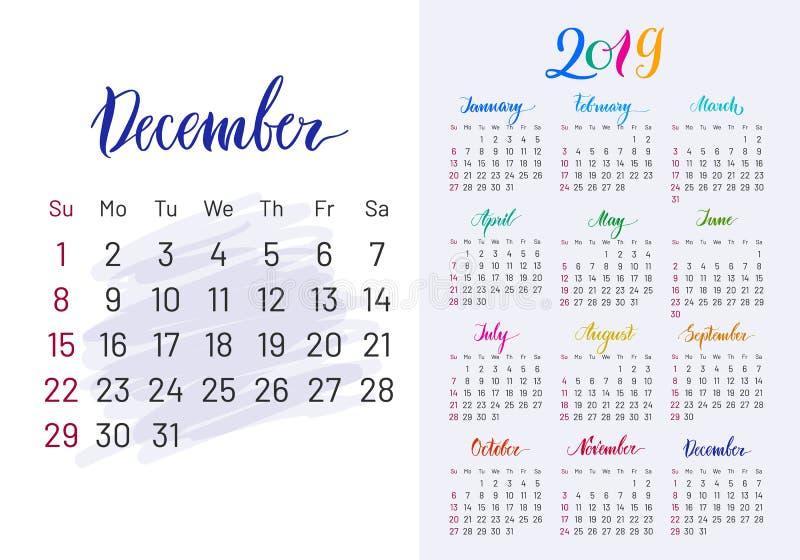 Colorful planner, 2019, December separately stock illustration