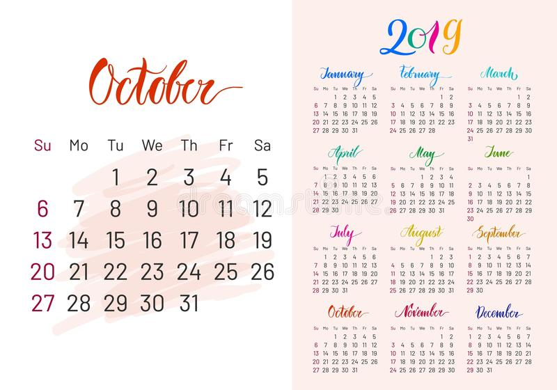 Colorful planner, 2019, October separately stock illustration