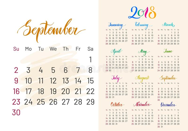 Colorful planner, 2018, Semptember separately vector illustration