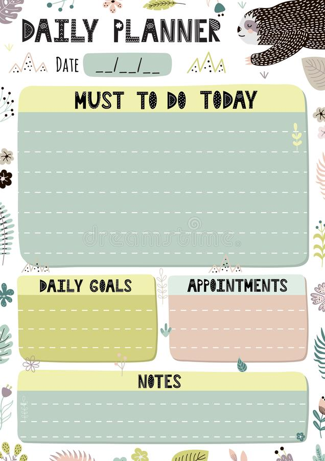 Colorful Daily Planner Template. Cartoon organizer in A4 format vector illustration