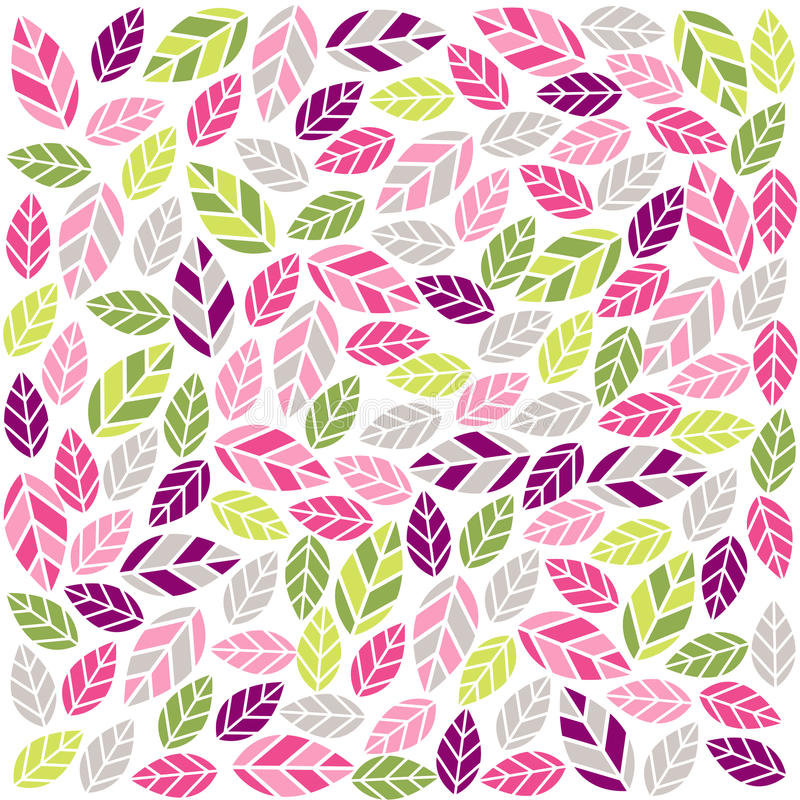 Colorful plant pattern with fabric texture royalty free illustration