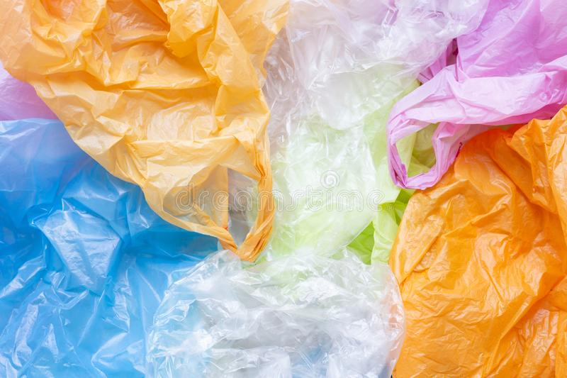 Colorful of plastic bags stock photography