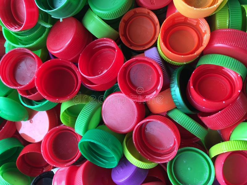 Colorful plastic bottle caps royalty free stock photography