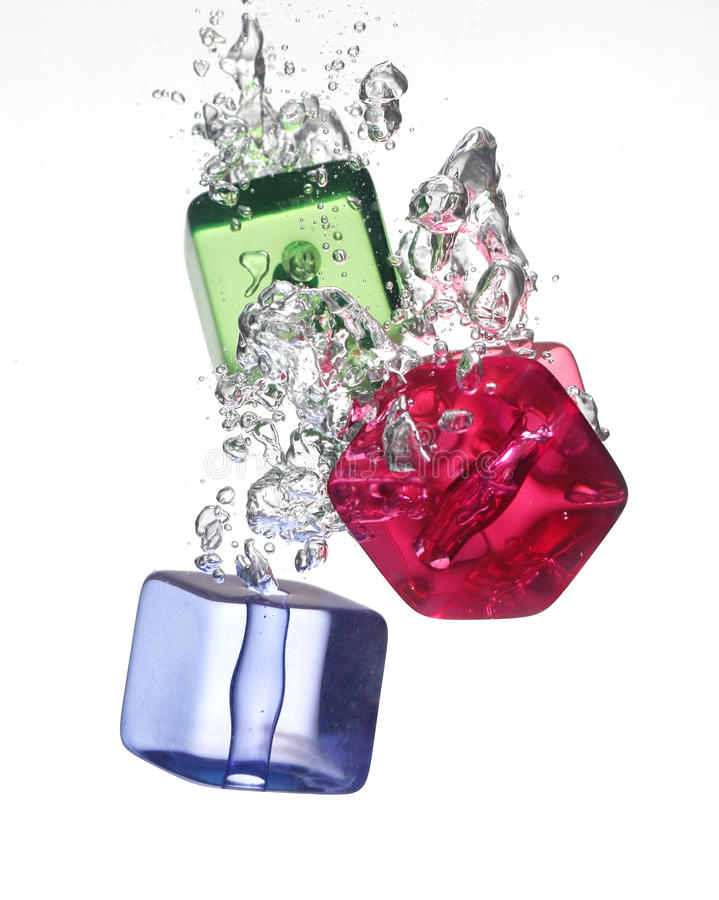 Download Colorful Plastic Cube In Water Stock Photo - Image: 33554926