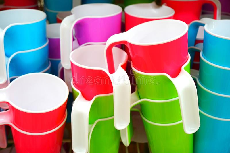 Colorful plastic cups stock image