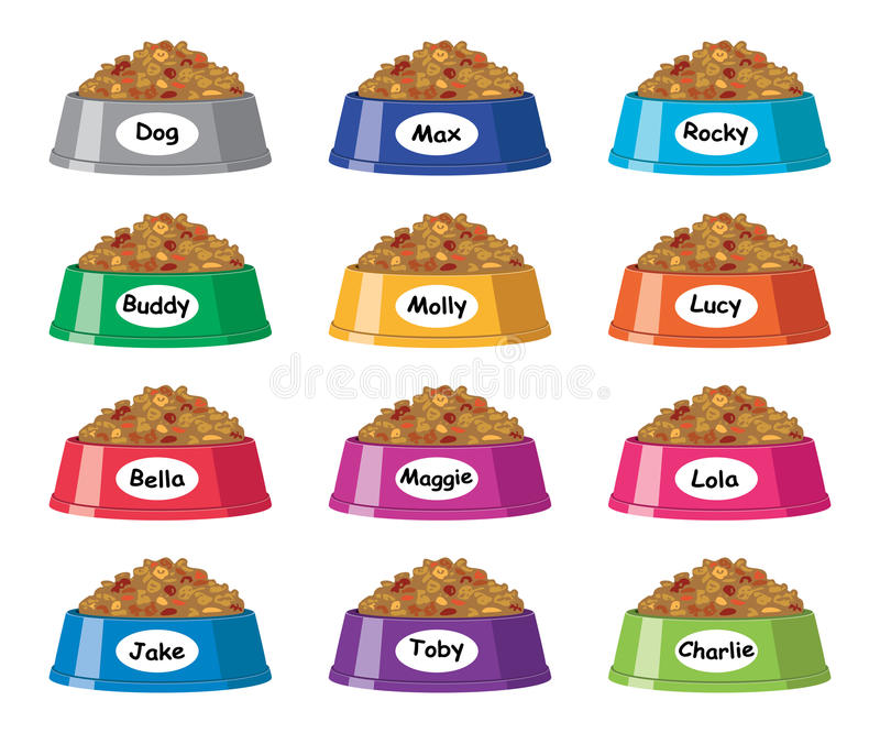 Colorful plastic dog bowls with dog food, vector. Set of colorful plastic dog bowls with dog food and popular dog names, vector royalty free illustration