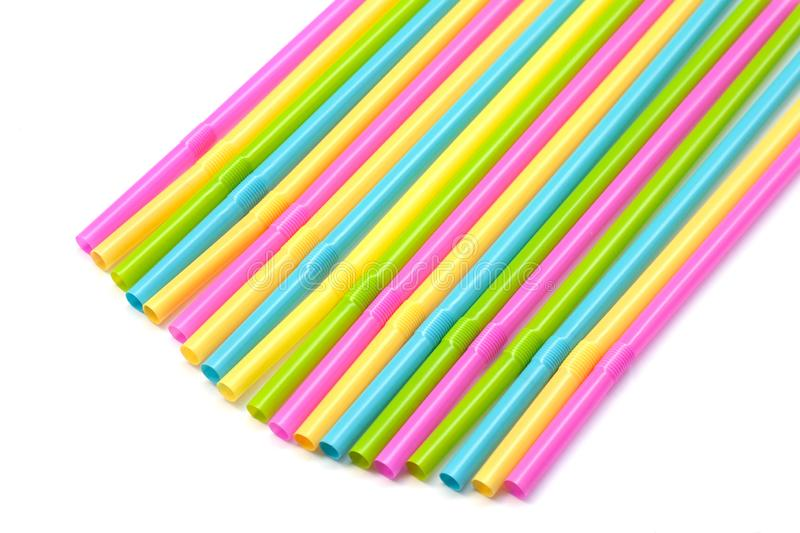 Colorful plastic drinking straws. royalty free stock photography