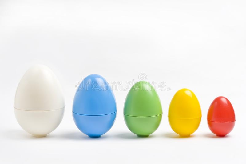 Colorful plastic eggs royalty free stock photo