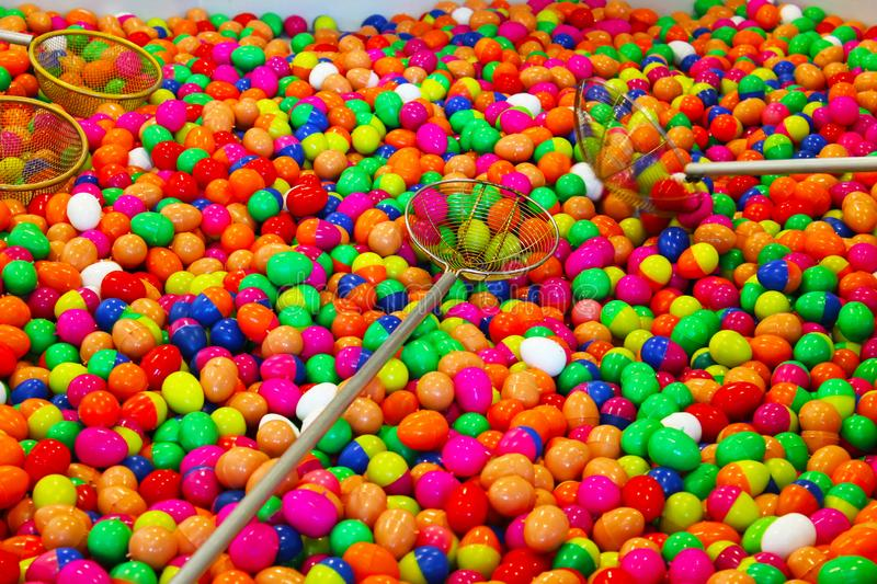 Colorful plastic eggs for lucky game stock photo