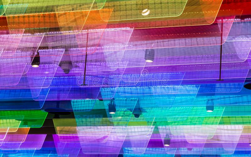 Colorful plastic fin light on roof design background stock photos