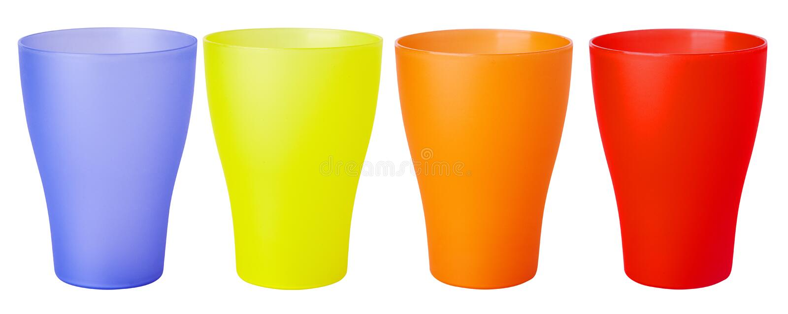 Colorful plastic glass for picnic isolated on white background stock images