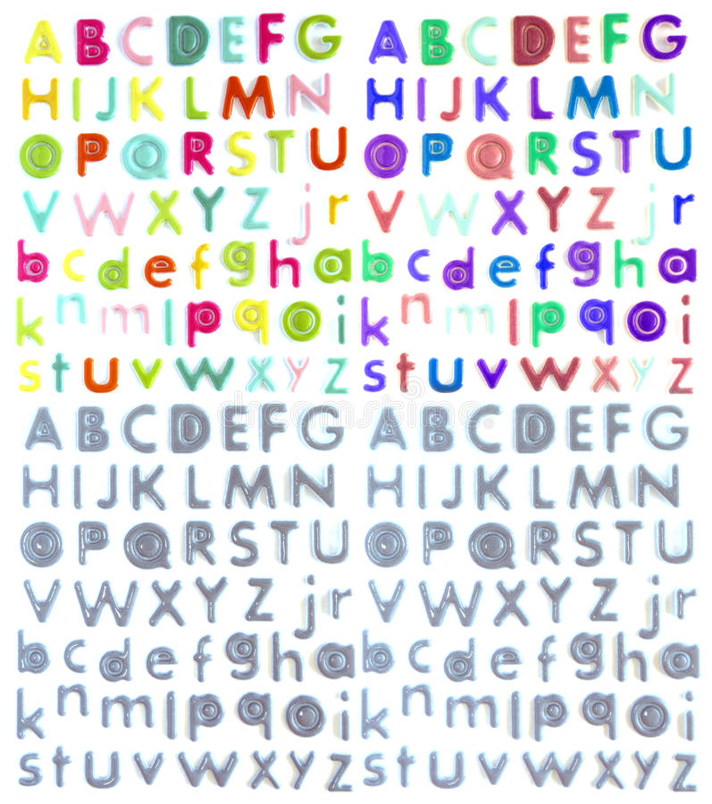 Colorful plastic letters stock illustration