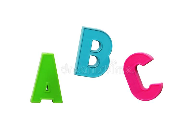 Colorful plastic letters ABC stock photo