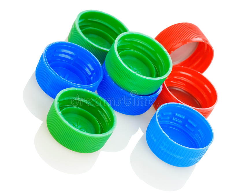 Colorful plastic lids royalty free stock photo