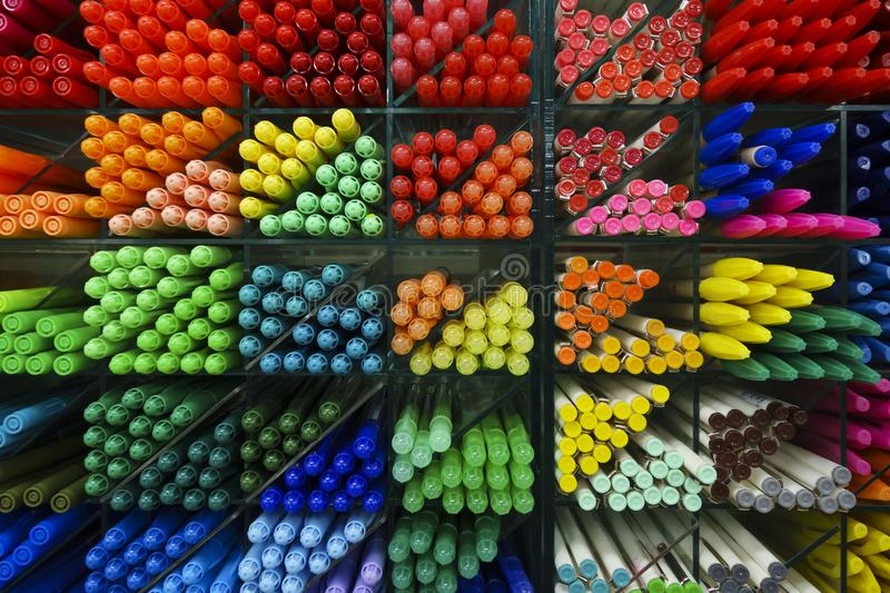 Colorful plastic pens. Close-up stock image