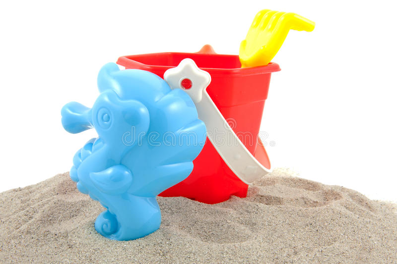 Colorful plastic play toys for the beach stock image