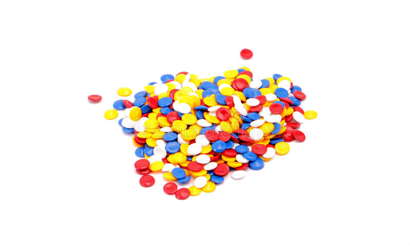 Colorful plastic polymer. Granules on white royalty free stock photos