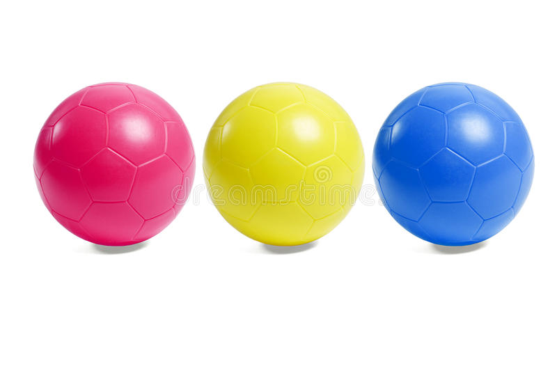 Colorful plastic soccer balls royalty free stock photography