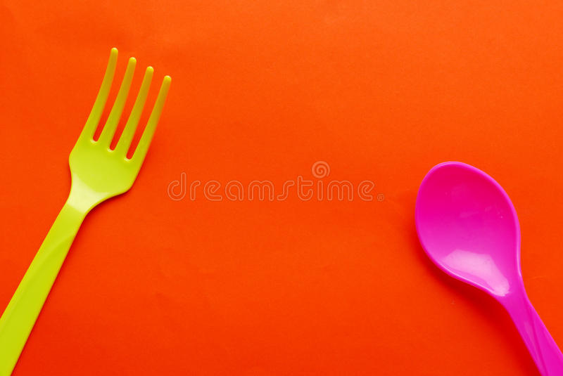 Colorful plastic spoon stock image