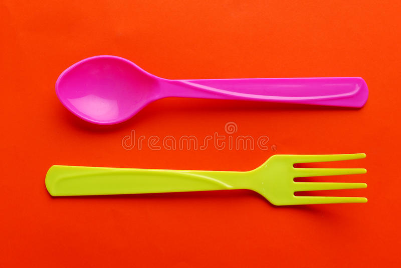 Colorful plastic spoon royalty free stock image