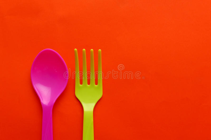 Colorful plastic spoon royalty free stock photography
