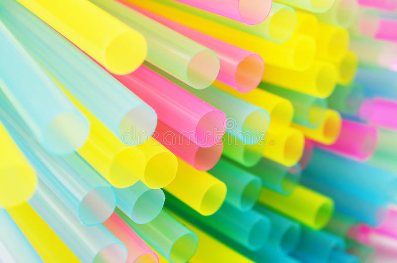 Colorful plastic straws. Abstract background from colorful plastic straws stock photo