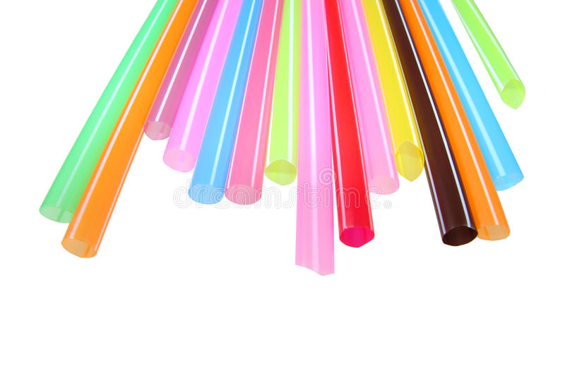 Colorful plastic straws used for drinking soft drinks royalty free stock photos