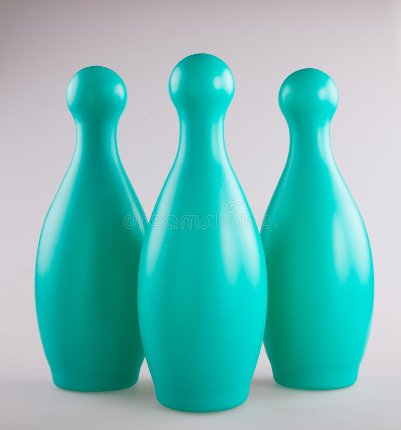 Colorful plastic toy bowling pin royalty free stock photo