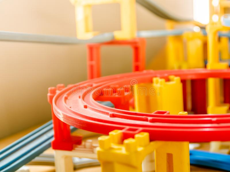 Colorful plastic toy trian tracks royalty free stock photo