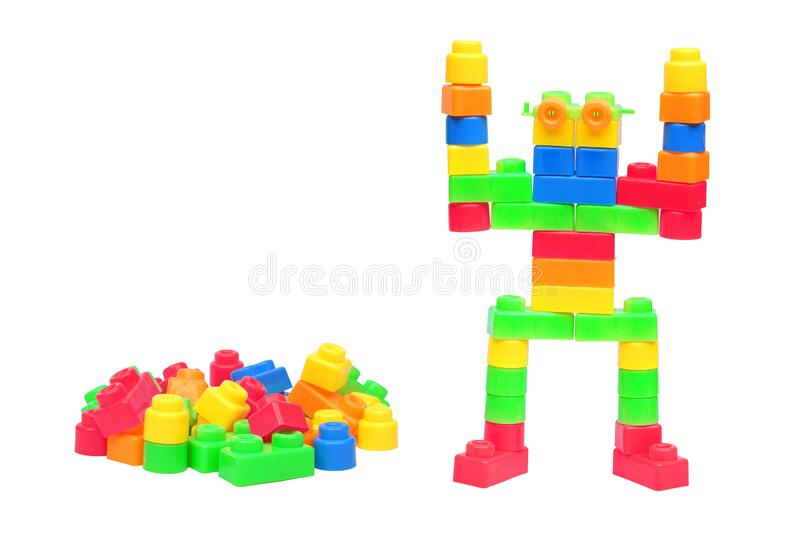 Colorful plastic toys assembled as a robot royalty free stock image