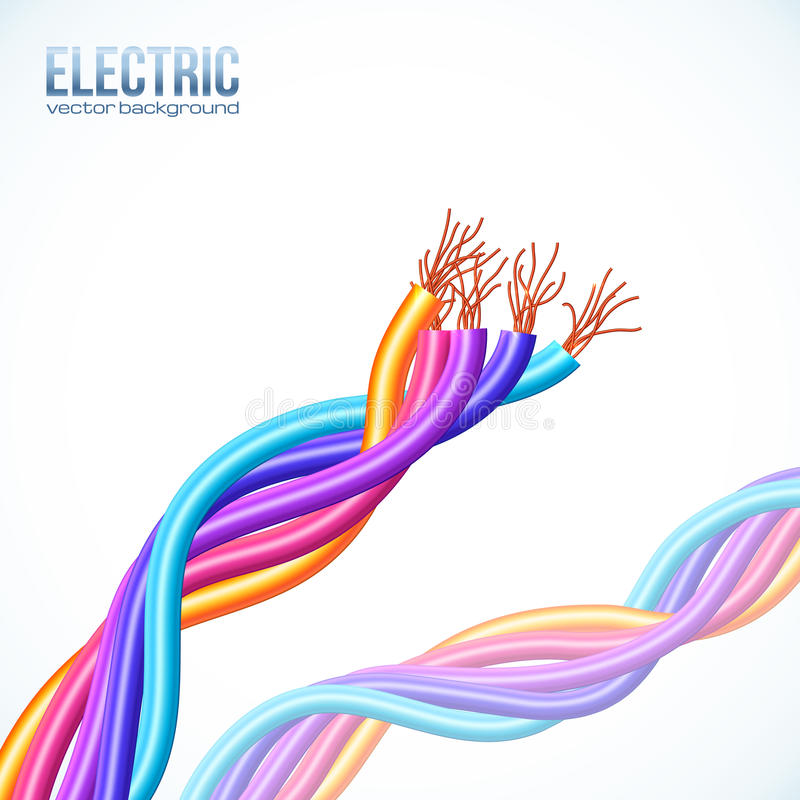 Colorful plastic twisted cables vector background stock illustration