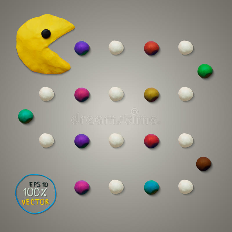 Colorful plasticine game play pacman. Vector illustration stock illustration